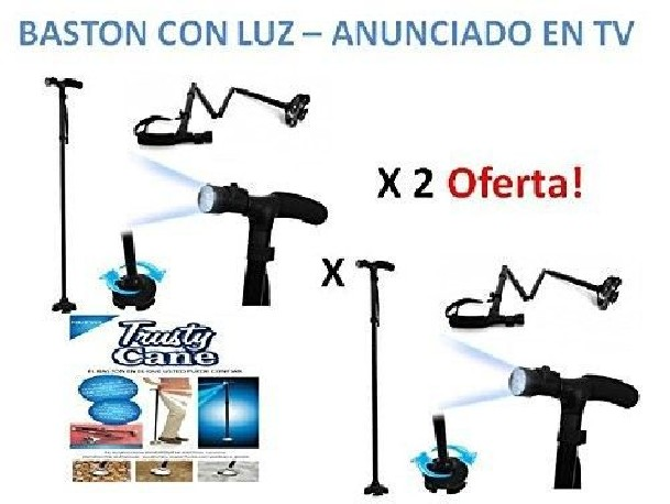 Baston plegable con luz, adaptable a altura, de aluminio y base adaptable. muleta magic - TRUSTY CANE
